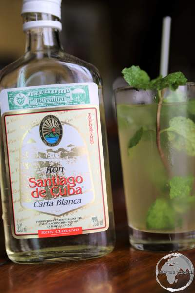 The national cocktail of Cuba, the Mojito, served at the Bacardi Rum museum in Santiago de Cuba.