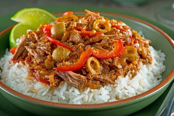 Ropa Vieja (old clothes) is a popular dish in Cuba.