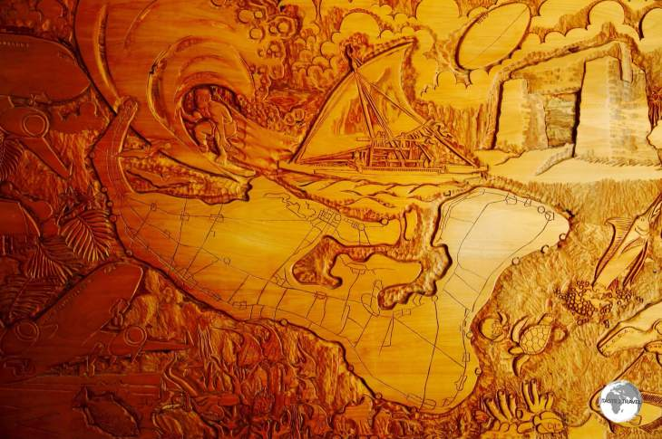 A wood-carved map of Nuku'alofa. Captain cook spent months here charting the archipelago.
