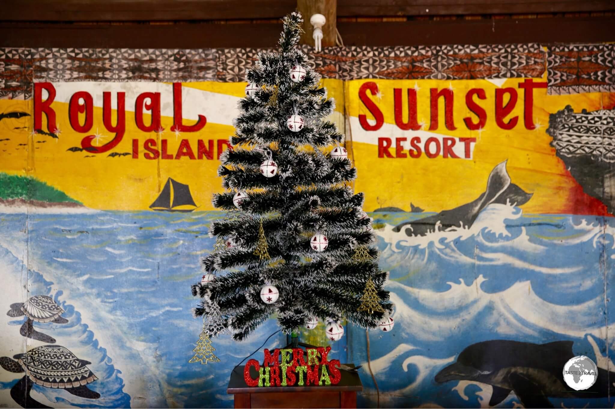 Christmas decorations at the Royal Sunset Island resort on 'Atata island.