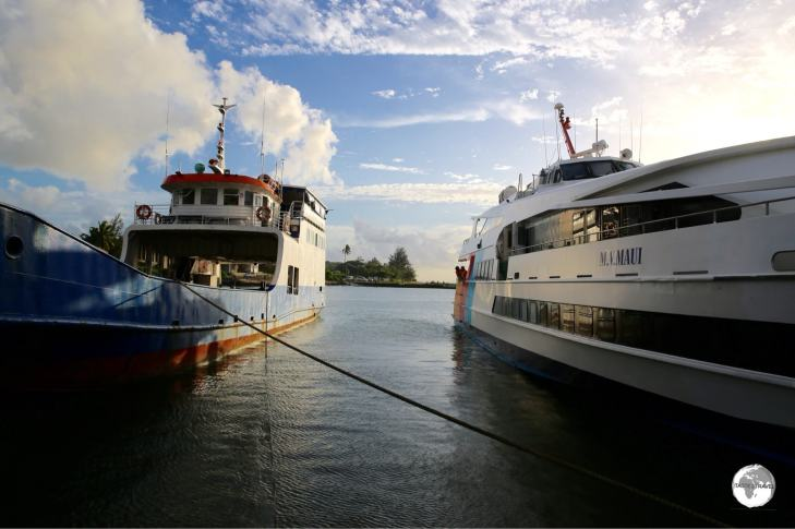 Two different ferries do the crossing from Tongatapu to 'Eua - the slow car ferry and the faster passenger ferry (seen here at the dock on 'Eua).