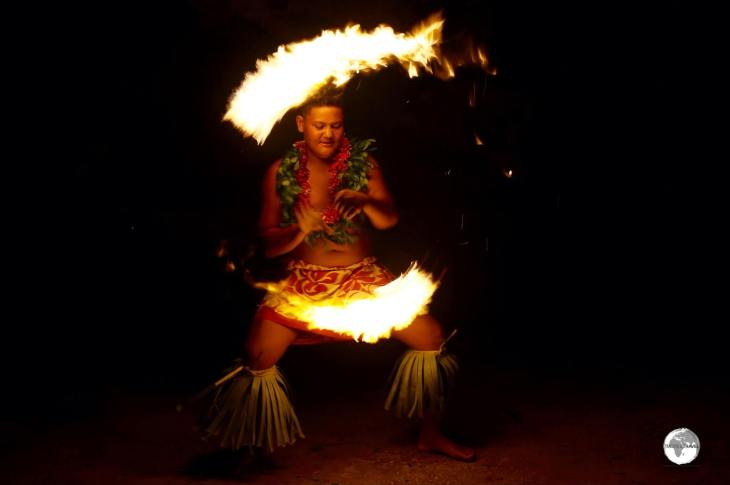 Fire dancing is a highlight of the floor-show at Hina cave.