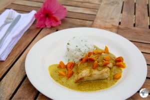 My lunch on Fafa Island - amazingly fresh local Snapper with a curry sauce.