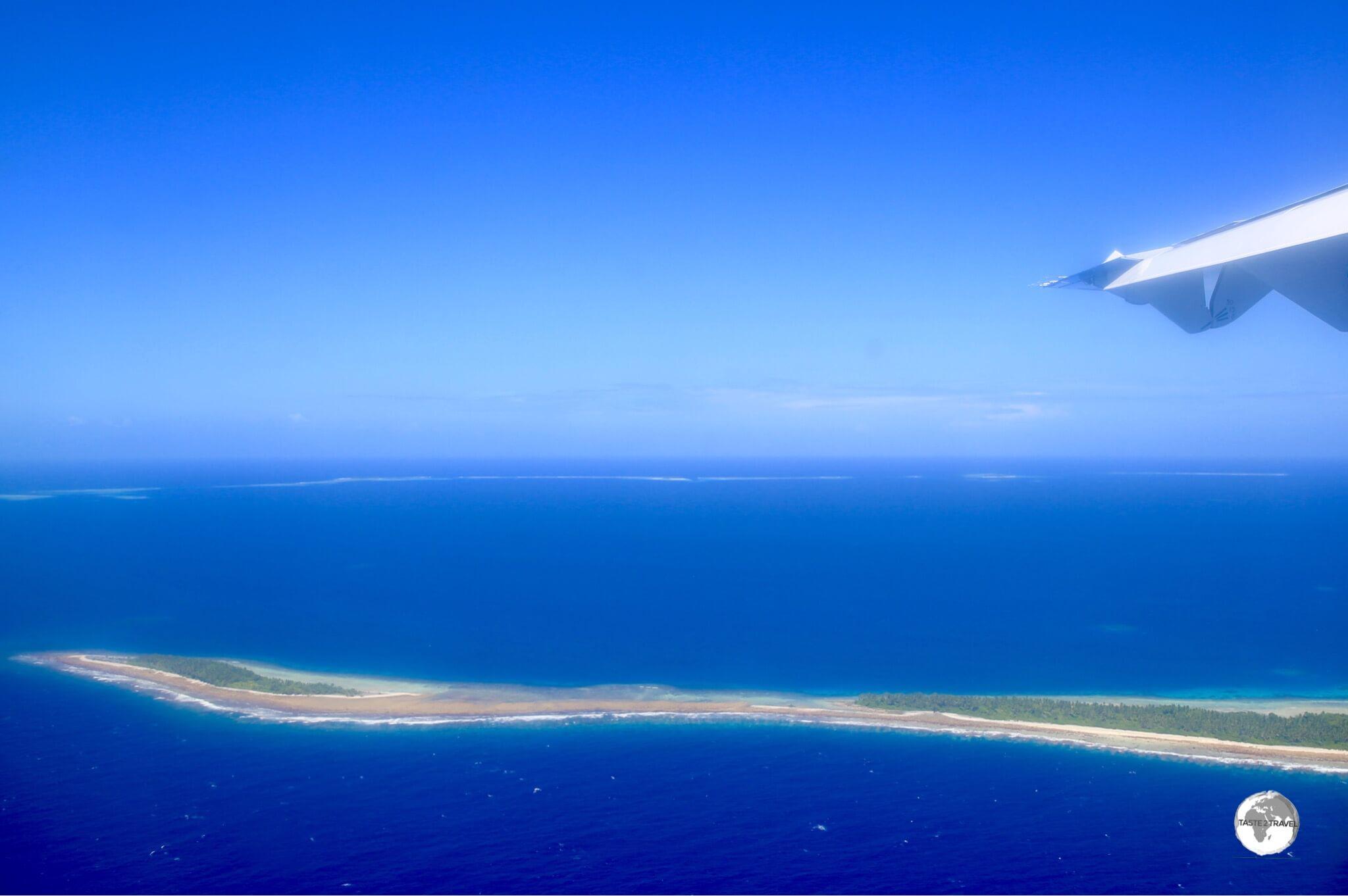 First views of Funafuti from my Fiji Airways flight.