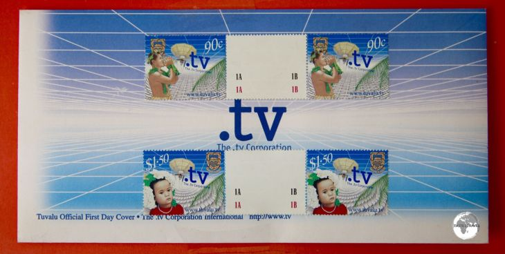 A stamp issue by the Tuvalu Post Office commemorating the .TV Corporation.