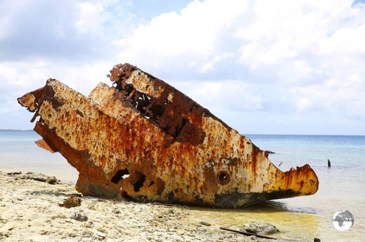 A shipwreck in the lagoon north of Funafuti port.