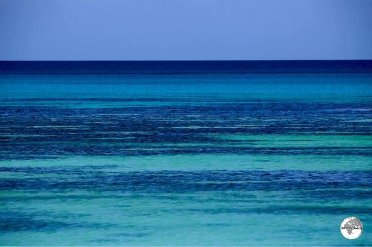 The blues of Tuvalu Lagoon.