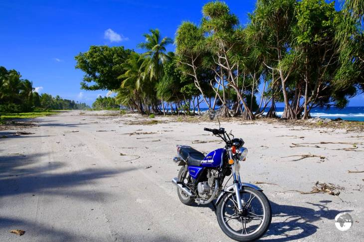 My rental motorbike (a real clunker) at the far northern end of Funafuti.