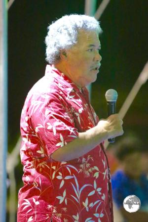 The Prime Minister of Tuvalu - Enele Sopoaga - talking about the threat of climate change to his country during a function for the visiting Japanese Ambassador.