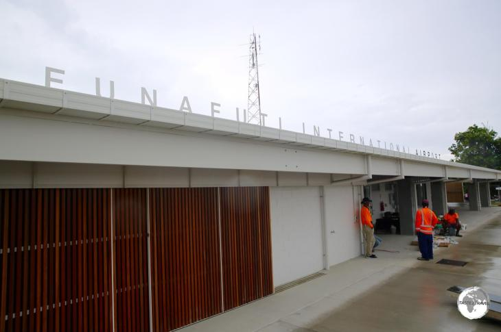 The air-side view of the (almost completed) new terminal at Funafuti International airport.