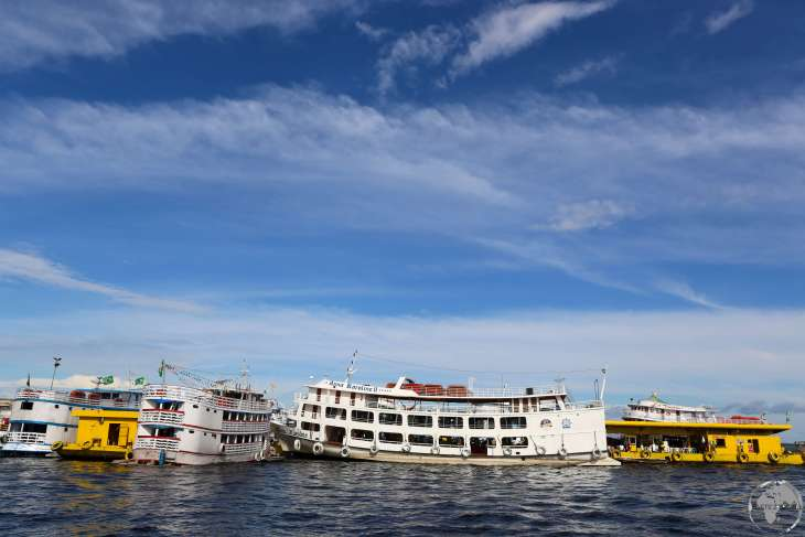 Amazon river 'slow' boats docked in Manaus.
