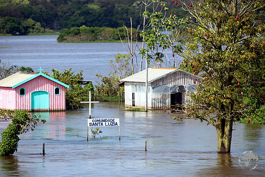 """Known as the """"River Sea"""", the Amazon River inundates riverside villages, such as Santa Luzia, during the annual wet season."""