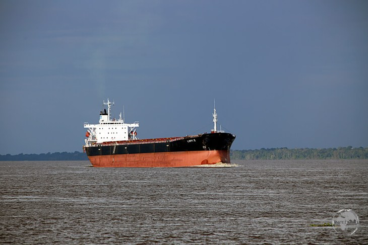 A long way from the sea - 1,400 km upriver, an ocean-going freighter approaches Manaus port.