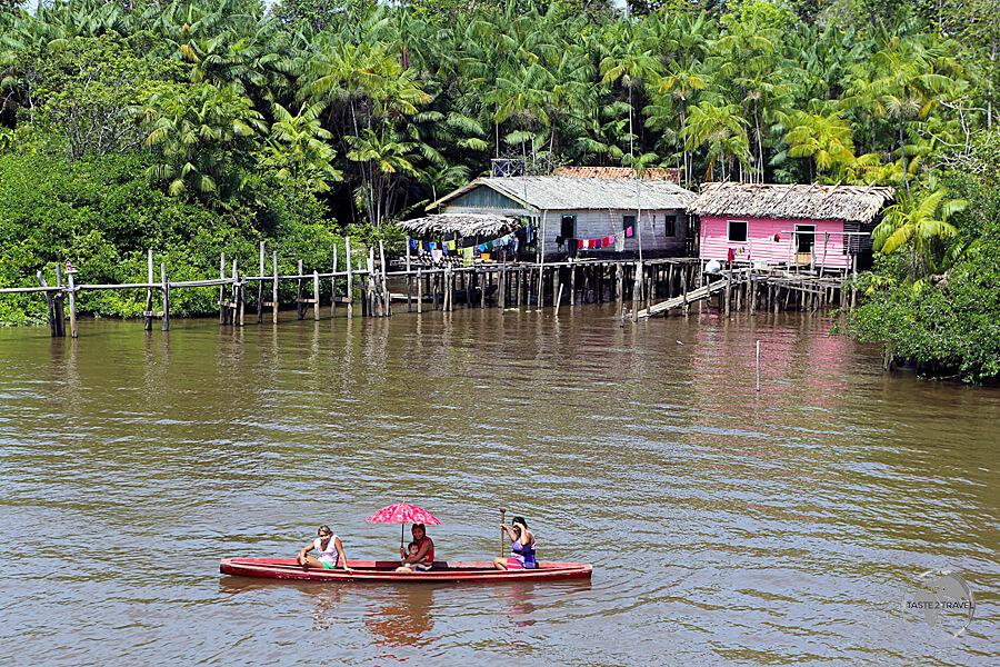 A typical Amazon river settlement between Santarém and Belém.