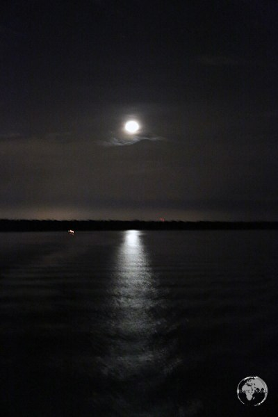 A moonlit Amazon River as seen from my boat as we slowly approached Belém.