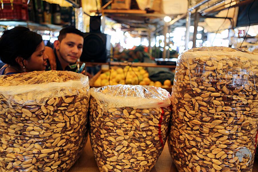 Brazil nuts on sale at the 'Ver-o-Peso' market in Belém.