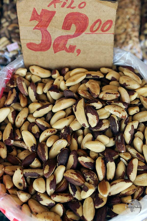 Brazil nuts on sale at the 'Ver-o-Peso' market for $R32 (USD$10) per kilo.