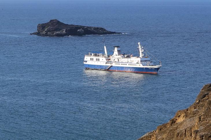 My cruise ship in the Galapagos, the MV Santa Cruz at Punta Pitt, San Cristóbal Island.