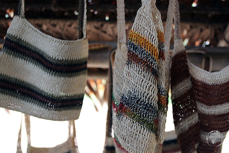 Handwoven bags for sale at the Yagua Indian village, near Iquitos, Peru.