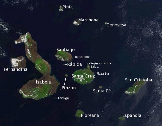 Map of the Galápagos Islands.