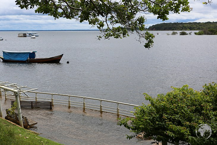 Flood waters from the wet season inundate the beautiful beaches at Alter do Chão.