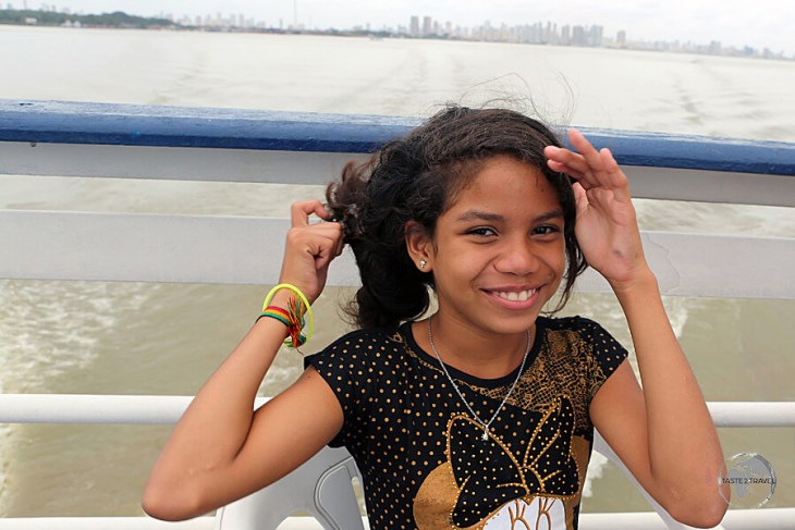 The Brazilians, such as this girl on the Belem to Macapa slow boat, loved posing for photos.