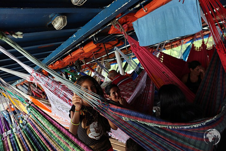 The very crowded 'hammock-class', on my slow boat from Belem to Macapa.