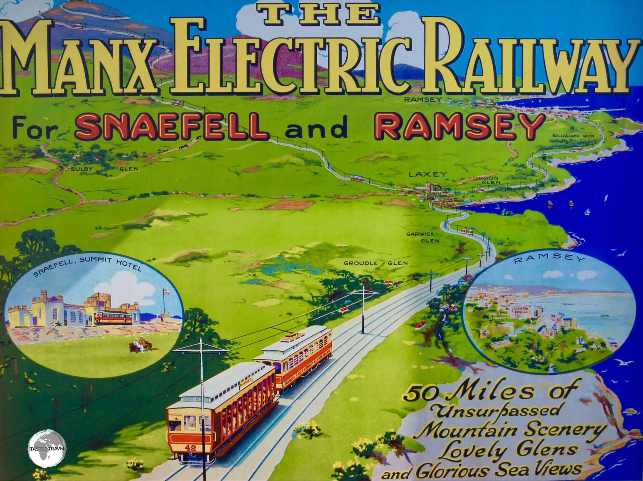 Isle of Man Travel Guide: Manx Electric Railway promotional poster.