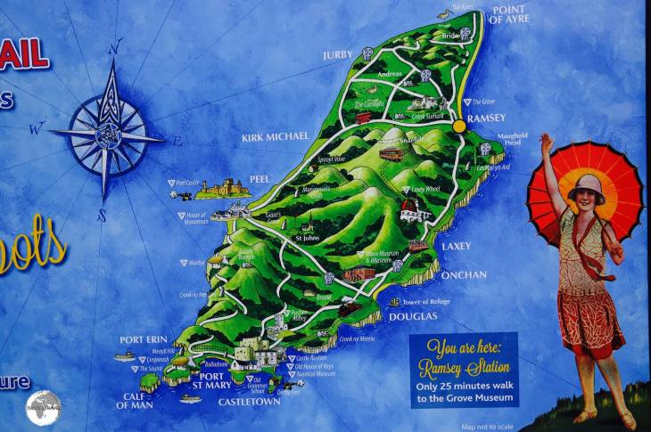 A touring map of the Isle of Man displayed outside Ramsey station.