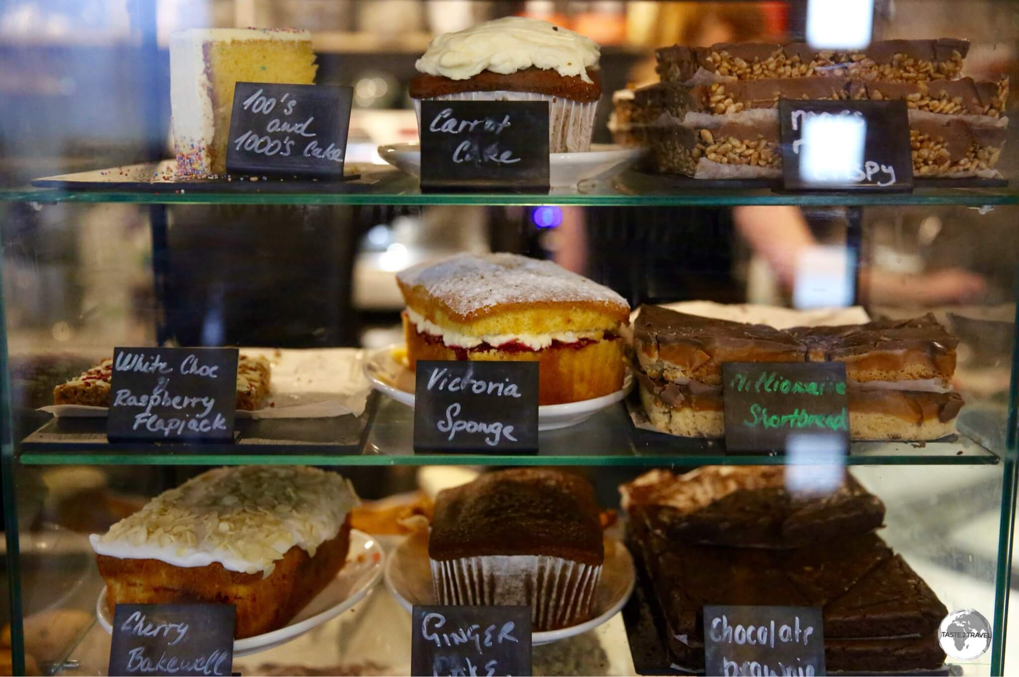 The amazing cake selection at the very remote 'Sound Cafe'.