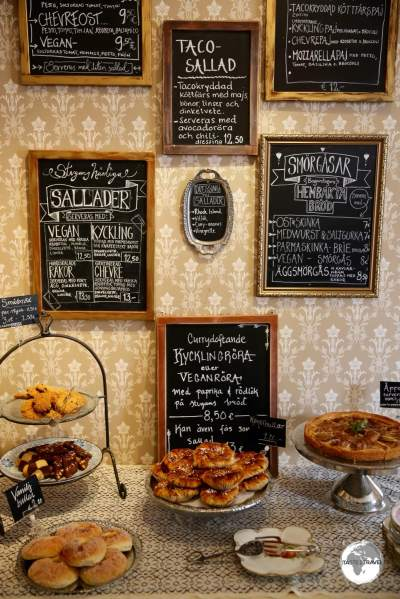 Many tempting offerings to be found at Bagarstugan Café in Mariehamn.