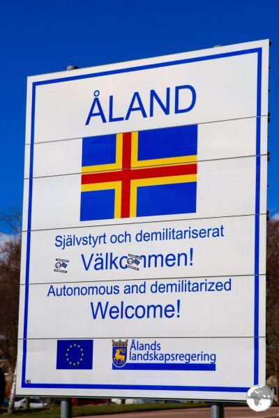 Åland islands Welcome sign.
