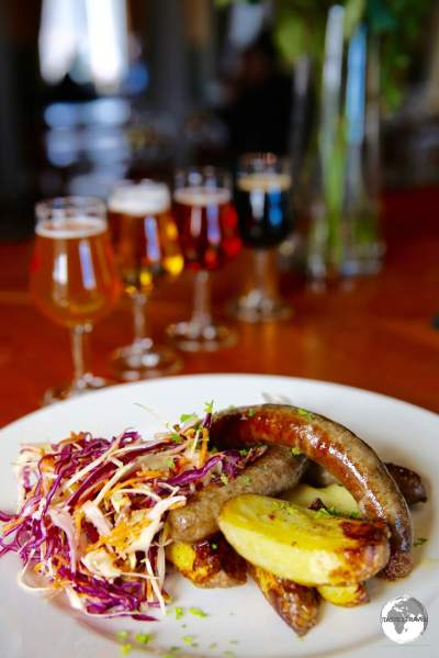 Home-made sausages are perfectly complimented with a selection of craft beers at Stallhagen Brewery.