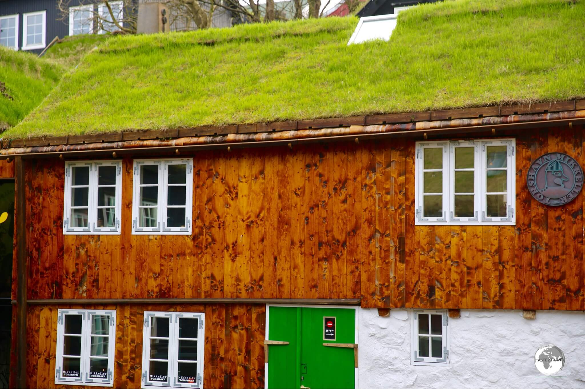 Houses in the Tinganes district of Tórshavn. Grass on the roof serves as insulation against the long cold winters.