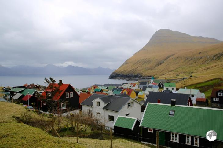The view of the village of Gjógv from the restaurant at the Hotel Gjáargarður.