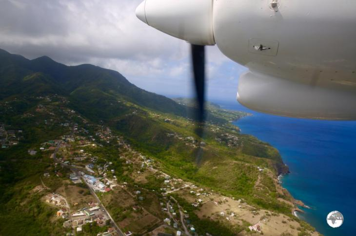 Flying over the north-west coast of Montserrat.