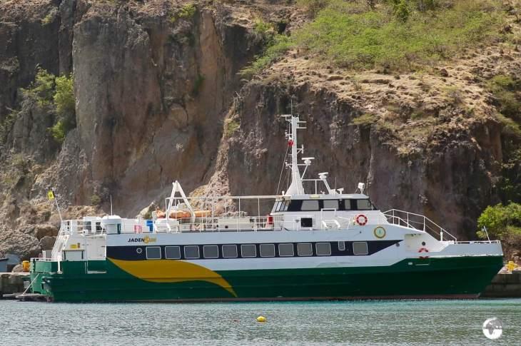 The Antigua-Montserrat ferry, Jaden Sun, docked at Little Bay.