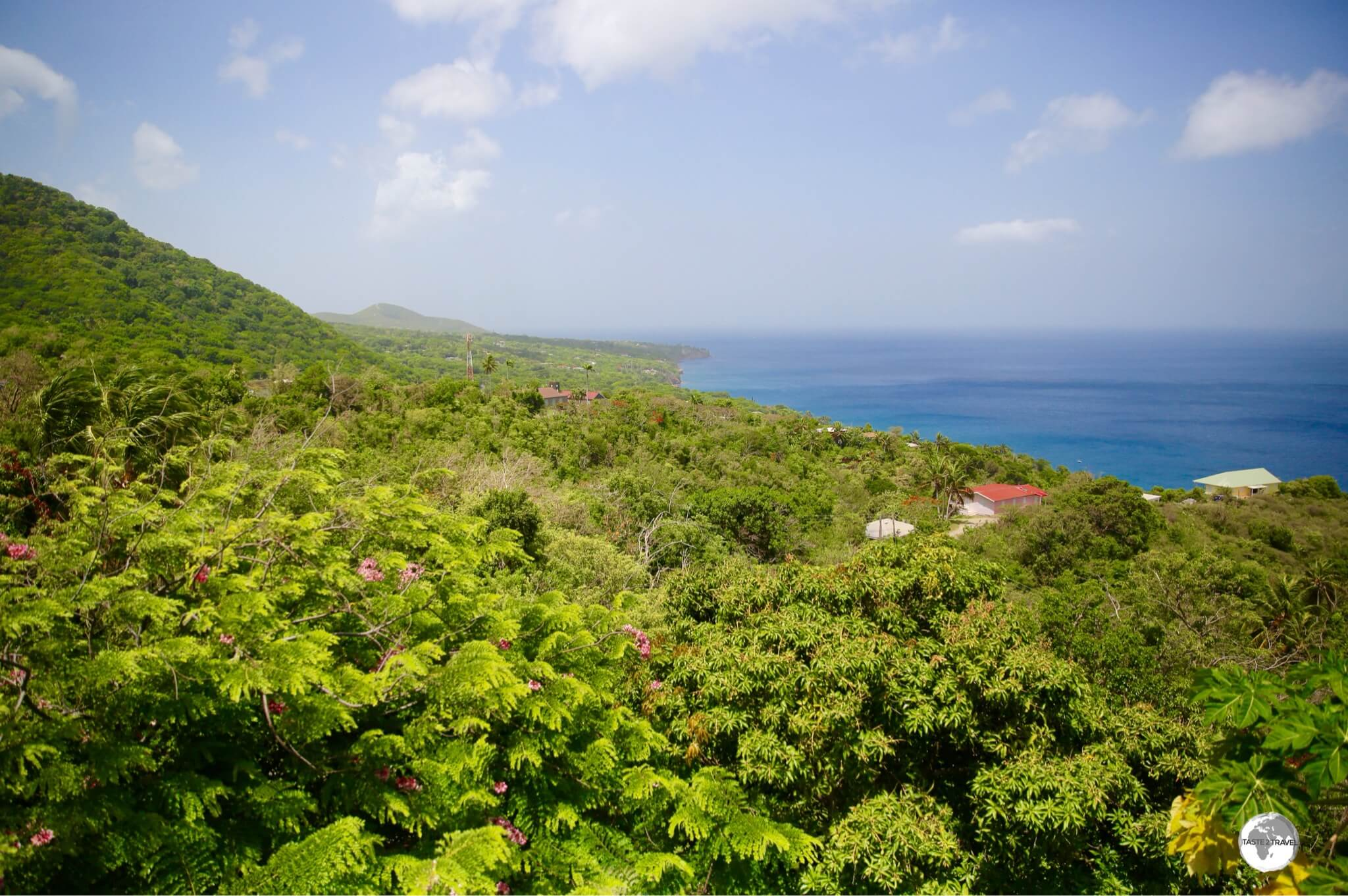A sweeping view of the west coast of Montserrat from the Gingerbread Hill Guest House.