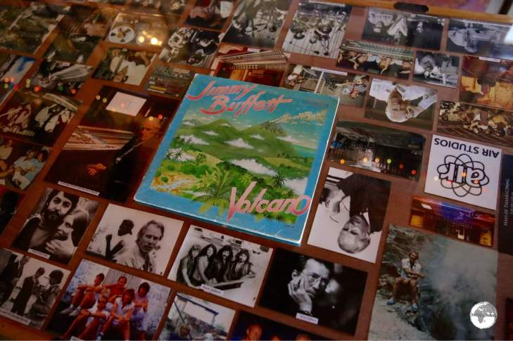 A display, created by David Lea, at the Hilltop Cafe illustrates the musical legacy from the days of Air studios.