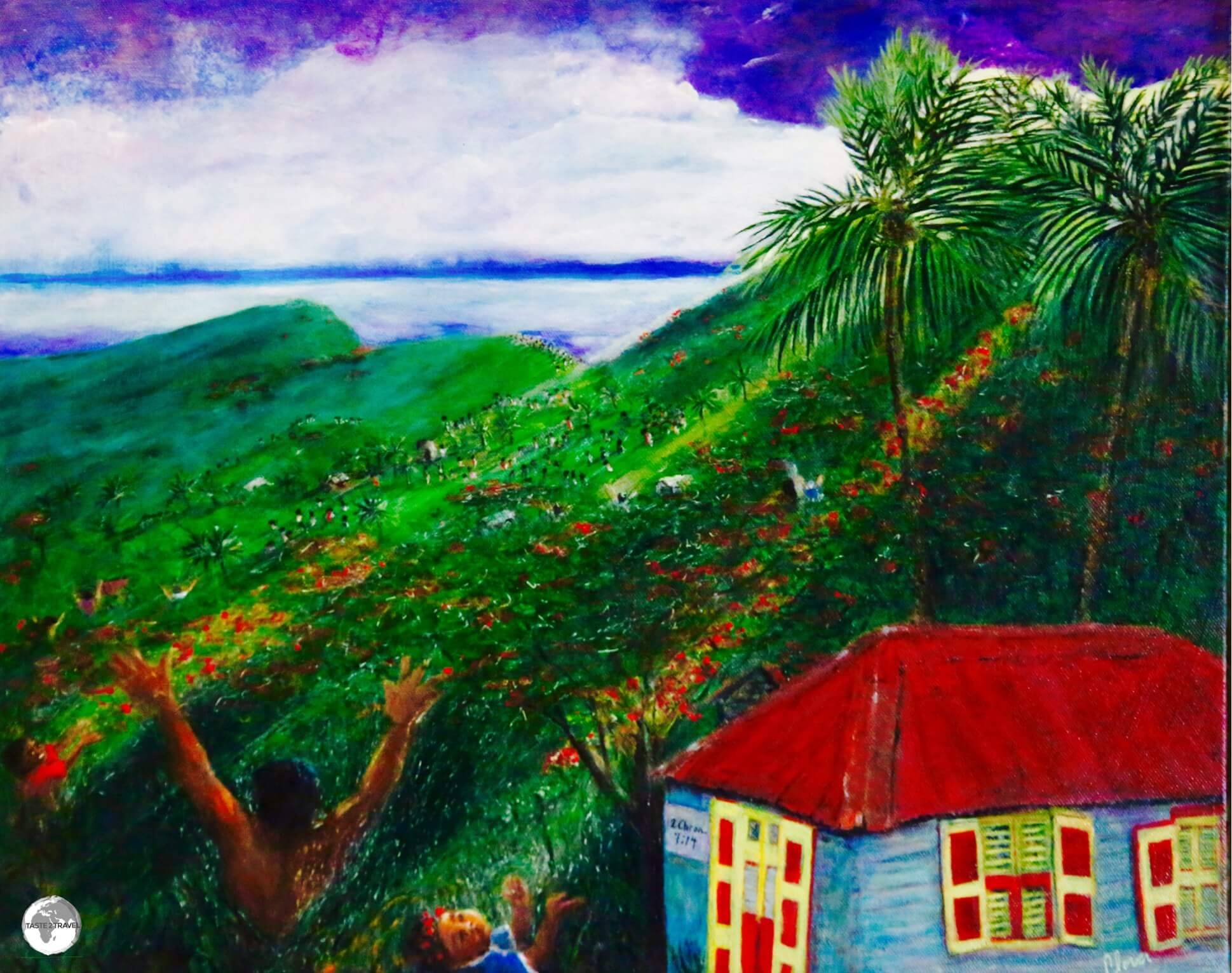 Artwork at the Hilltop Coffee House showing a typical Montserrat landscape.