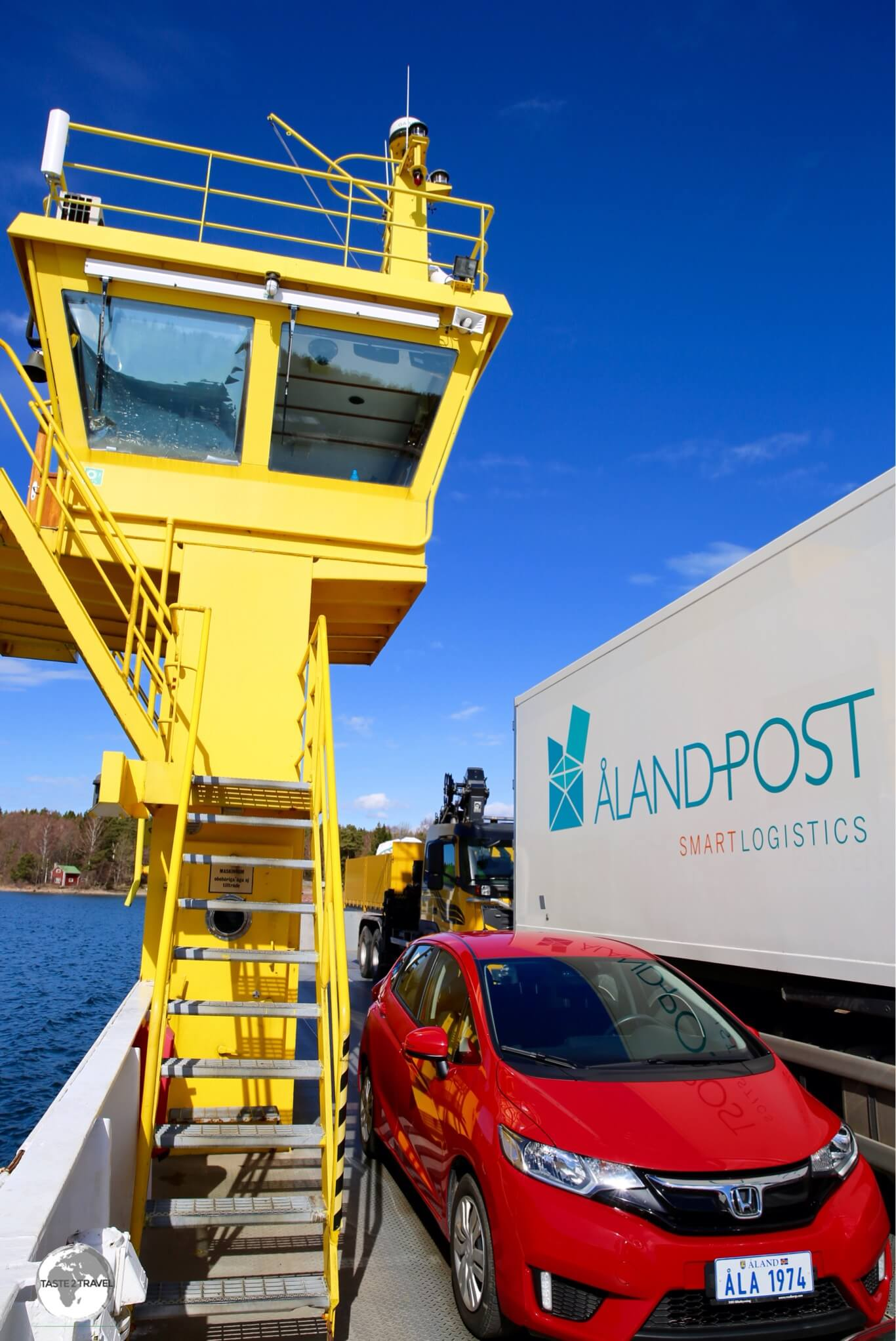 My rental car on a Cable ferry to Vårdö island.