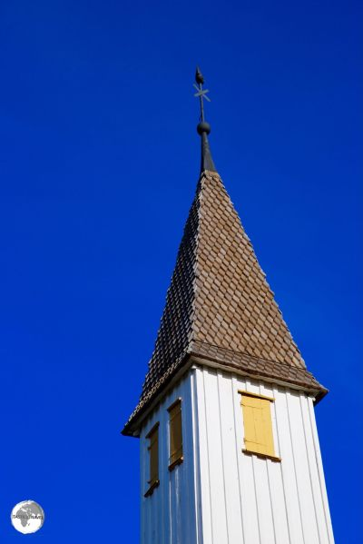 The steeple of Lumparland church, the oldest surviving wooden church in the Åland islands.