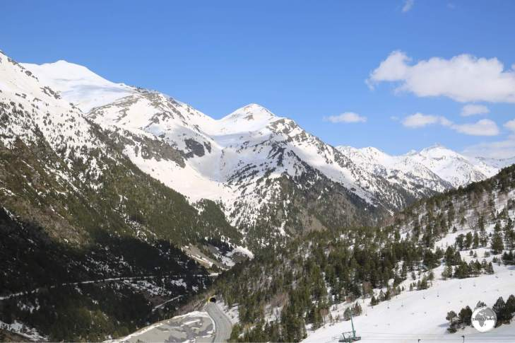 Views from the Arcalis ski resort (the road tunnel can be seen below).