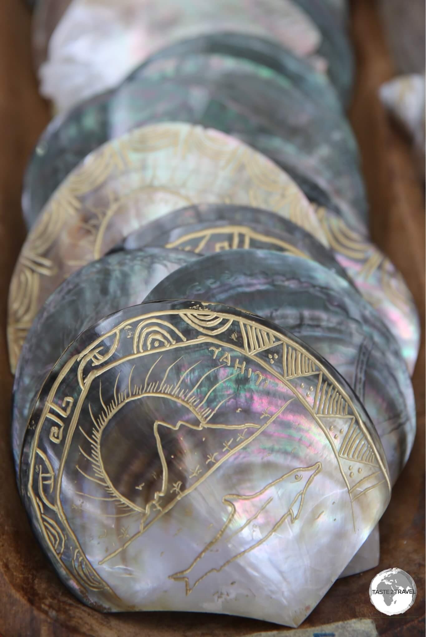 Souvenir shells on sale at Papeete Central Market.