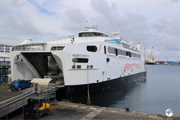 The Aremiti car ferry at the 'Gare Maritime' in Papeete.