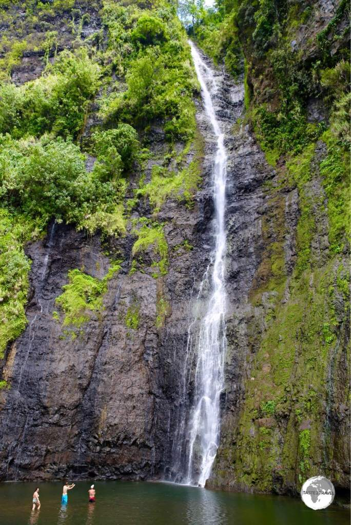 The towering Faarumai waterfall is a spectacular sight.