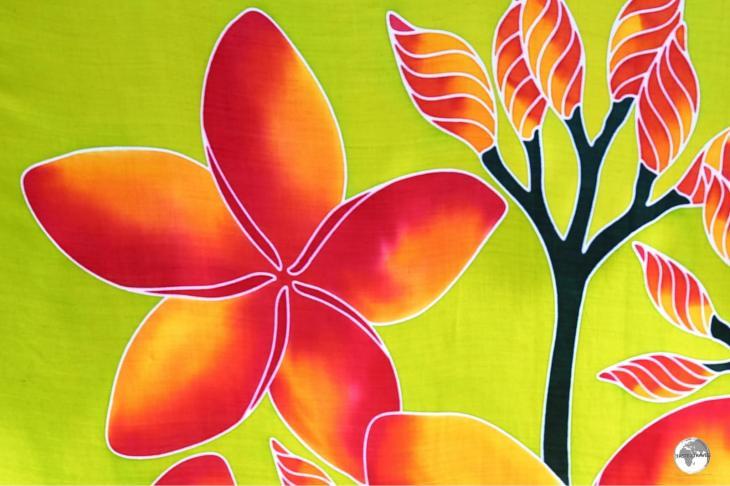 A souvenir sarong for sale in Papeete market.