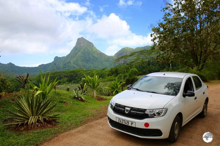 Exploring the beautiful landscapes of Moorea in my rental car.