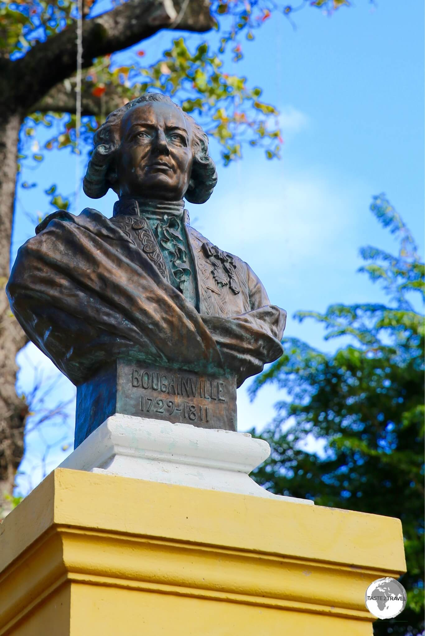 A bust of French explorer Louis Antoine de Bougainville,in the park named in his honour.