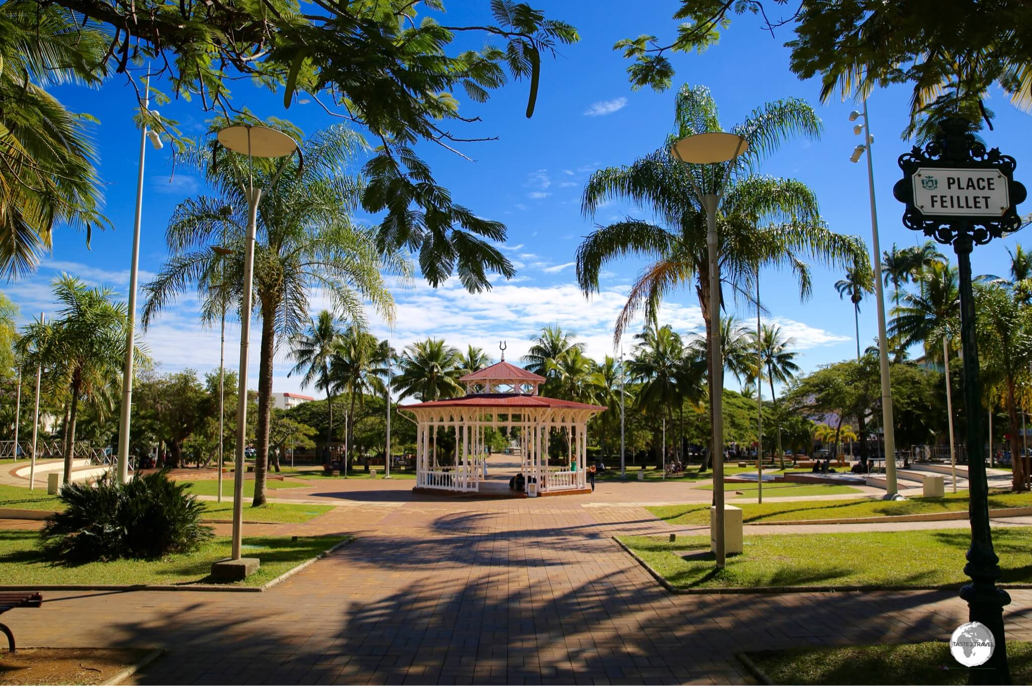 The wooden bandstand at Place des Cocotiers in Noumea.